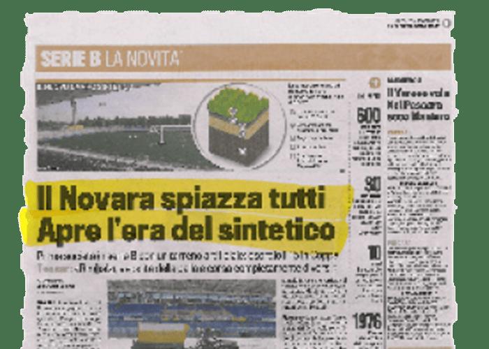 """""""Il Novara spiazza tutti. Apre l'era del sintetico."""" – La gazzetta dello sport – 04/08/2010"""